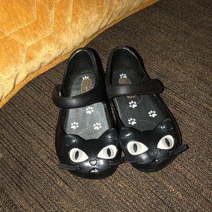 Mini Melissa Shoes Black Cat Sz 6 Mary Jane